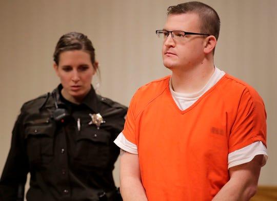 Kyle Larsen during his initial hearing Wednesday in Appleton.