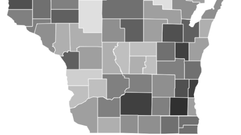 Map of broadband internet rates in Wisconsin