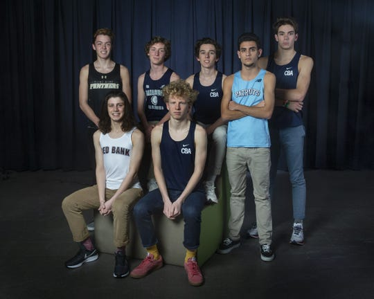 2018 Asbury Park Press All-Shore Boys Cross Country. Front Row - Tyler Schwin, Red Bank Regional, Shaw Powell, Christian Brothers Academy STANDING Point Pleasant Borough, Colin Flood, Manasquan, Luke Reid, Christian Brothers Academy, Nick Lundberg, Freehold Township, Tim McInerney, Christian Brothers Academy.