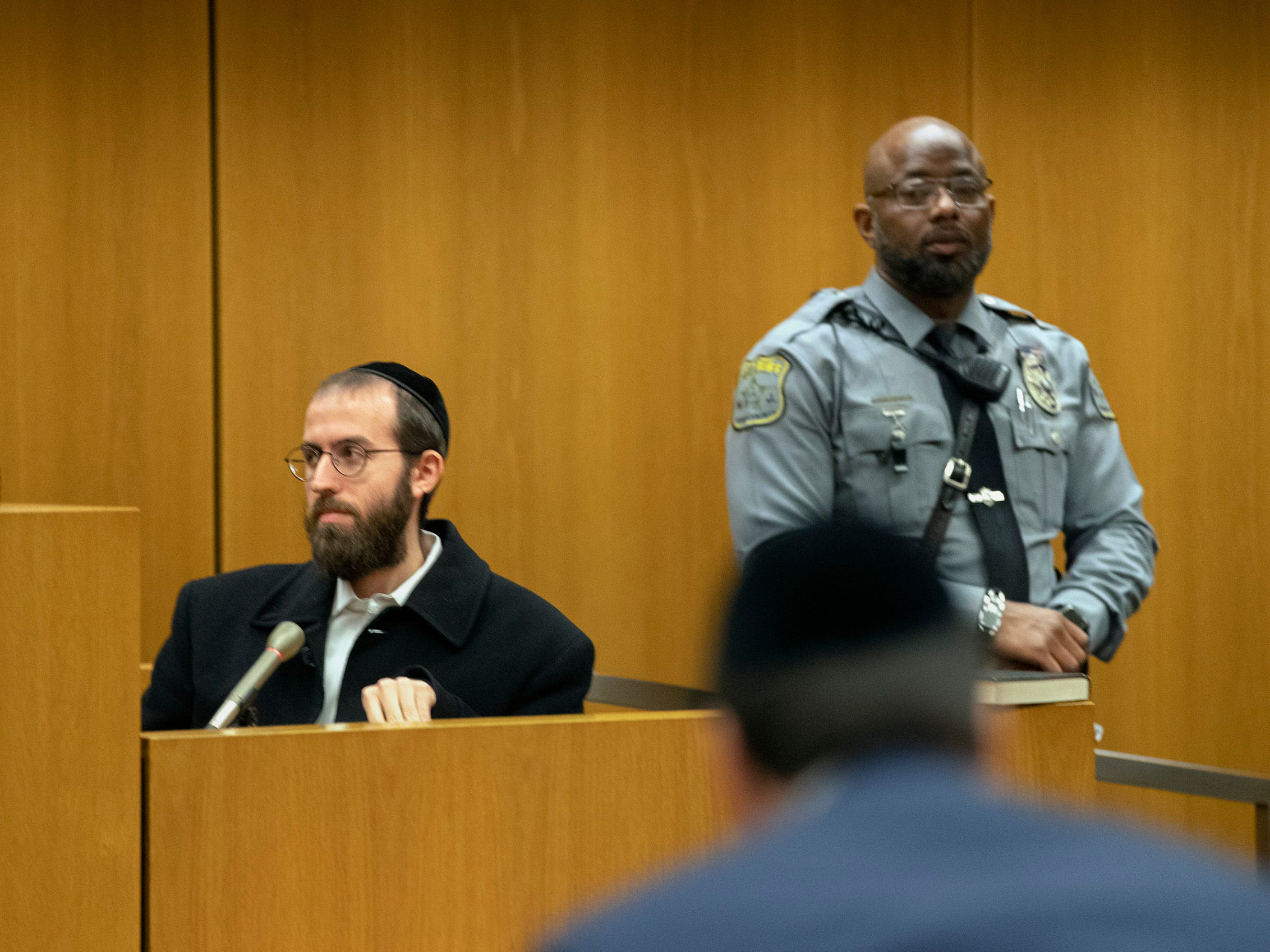 Tzvi Braun answers judge's questions.  The first four plea deals in the Lakewood Welfare Fraud cases were settled in front of Judge Wendel Daniels in Ocean County Court in Toms River on December 5, 2018. Twenty Six people were arrested in the raids in 2017.