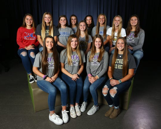 2018 All-Shore Field Hockey. Front row: Maeve Hierholzer of RFH, Grace Jamin of RFH, Bridy Molyneaux of RFH, Maitland Demand of SOUTHERN. Top row: Mia Kepler of WALL,  Emma Wilhelm of SOUTHERN, Maggie Lamb of SHORE, Emmalee Olsen of SHORE, Shannon Tringola of RBC,   Julianne Kopec of RBC, Lily Santi of SHORE,  Jordan Carr of POINT BORO, Ana Claire Piacentini of RFH.  December 4, 2018, Neptune, NJ