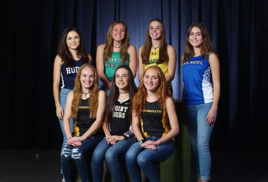 2018 All Shore Girls Cross Country. Seated l to r: Amanda Stone of Monmouth Regional, Molly Kate Sabia of Point Boro, Samantha Ragenklint of Monmouth Regional. Standing: Corina Vidal of Henry Hudson, Delia Russo of Colts Neck,  Maddy Kopec of Red Bank Catholic and Emily Levonas of Holmdel. December 4, 2018, Neptune, NJ