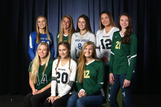 2018 All-Shore Girls Volleyball. Seated l to r: Claudia Bykowski of Colts Neck, Jessica Sprankle of Southern, Kayla Thornton of Pinelands. Standing: Marta Pawka of Donovan Catholic, Kate Stoughton of Brick Memorial, Lexi Tamburello of Donovan Catholic, Stephanie Soares of Southern and Emma Capriglione of Pinelands.  December 4, 2018, Neptune, NJ