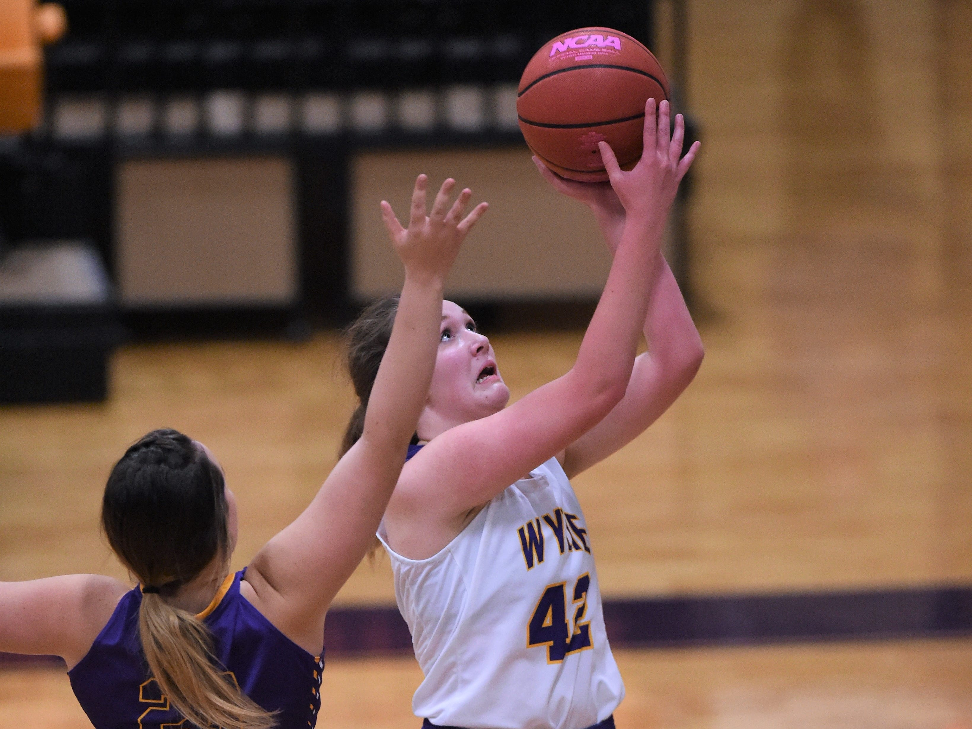 Wylie's Bailey Roberts (42) takes a shot against Merkel in the Coaches vs. Cancer Pink Out game on Tuesday, Dec. 4, 2018. The Lady Bulldogs won 75-39.