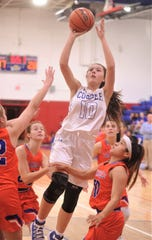 Cooper's Brianna Garcia (10) drives for a shot against the San Angelo Central defense. Central beat the Lady Cougars 40-21 in a nondistrict game Dec. 4, 2018, at Cougar Gym.