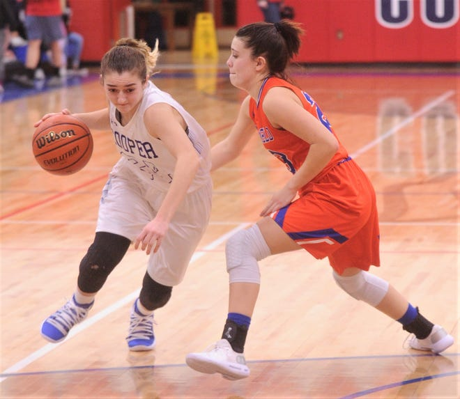 Cooper's Meri Tetaj, left, tries to drive around San Angelo Central's Morgan Walker. Central beat the Lady Cougars 40-21 in a nondistrict game Tuesday, Dec. 4, 2018, at Cougar Gym.