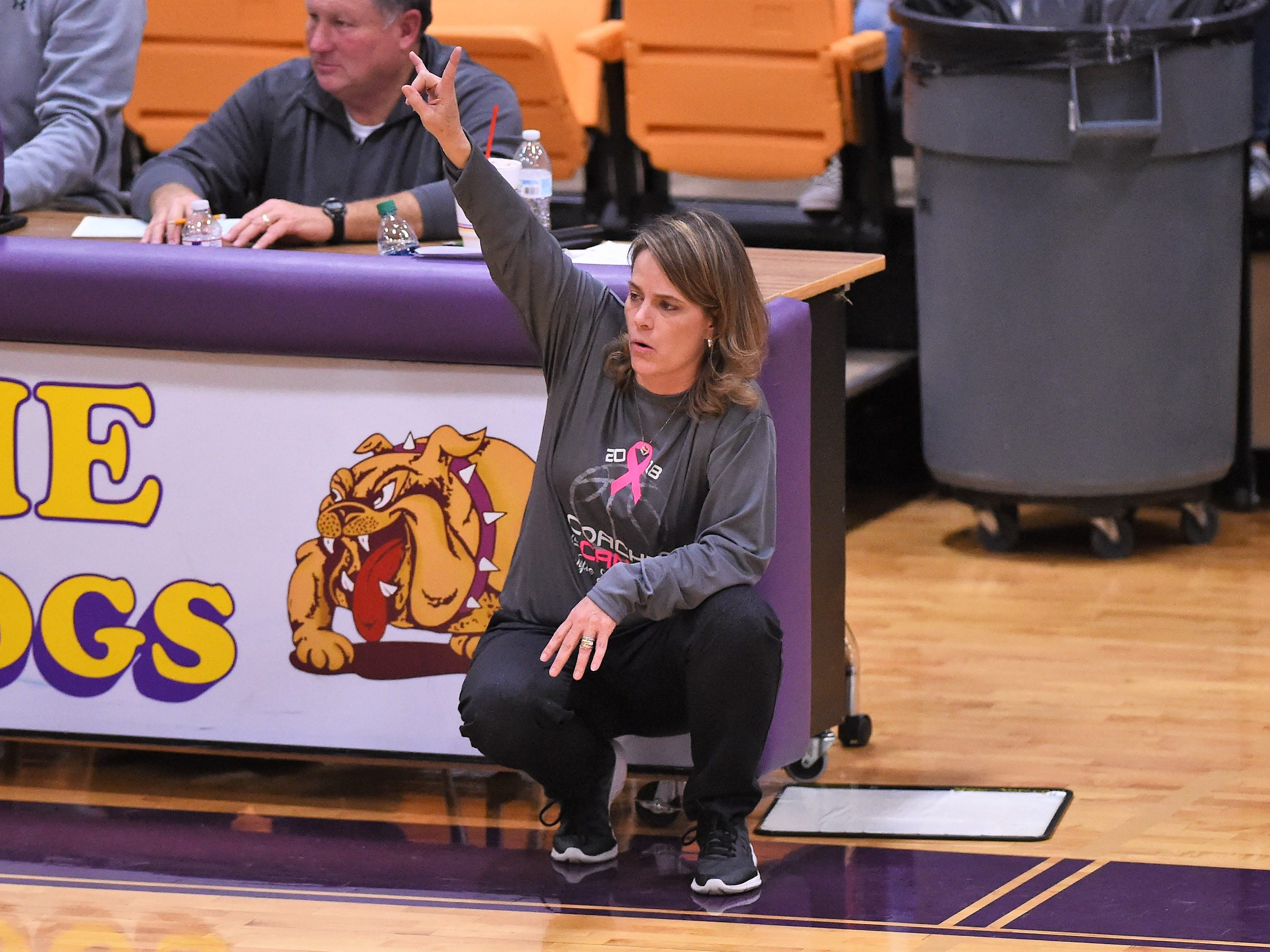 Wylie coach Amy Powell calls out a play during the Coaches vs. Cancer Pink Out game against Merkel on Tuesday, Dec. 4, 2018. The Lady Bulldogs won 75-39.