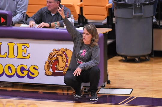 Wylie coach Amy Powell calls out a play during the Coaches vs. Cancer Pink Out game against Merkel on Tuesday. The bake sale and silent auction helped raise over $6,000 to assist Brandi Barbee in her battle against the disease.