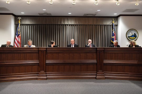 Buncombe County commissioners during their Dec. 4, 2018, meeting in downtown Asheville.