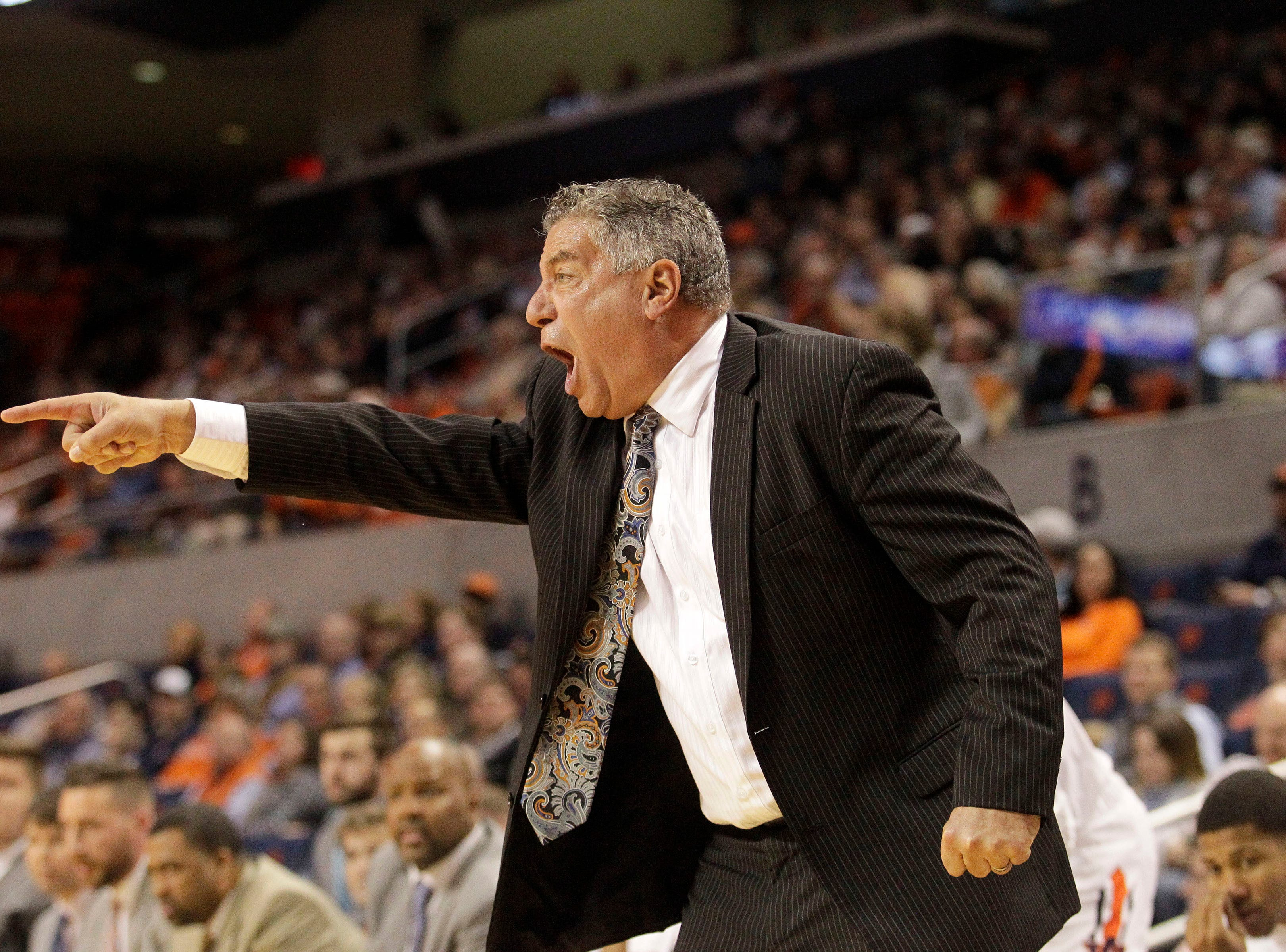 Dec 4, 2018; Auburn, AL, USA; Auburn Tigers head coach Bruce Pearl yells to his team during the first half against the UNC-Asheville Bulldogs at Auburn Arena. Mandatory Credit: John Reed-USA TODAY Sports