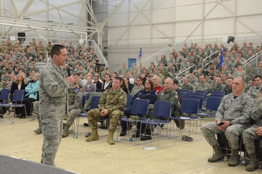 Base Commander Col. Bryan Teff speaks during a town hall meeting of Battle Creek Air National Guard personnel on Saturday, Dec. 1, 2018.