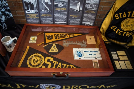 A display in the Calice Building shows the origins of SUNY Broome's technical programs.