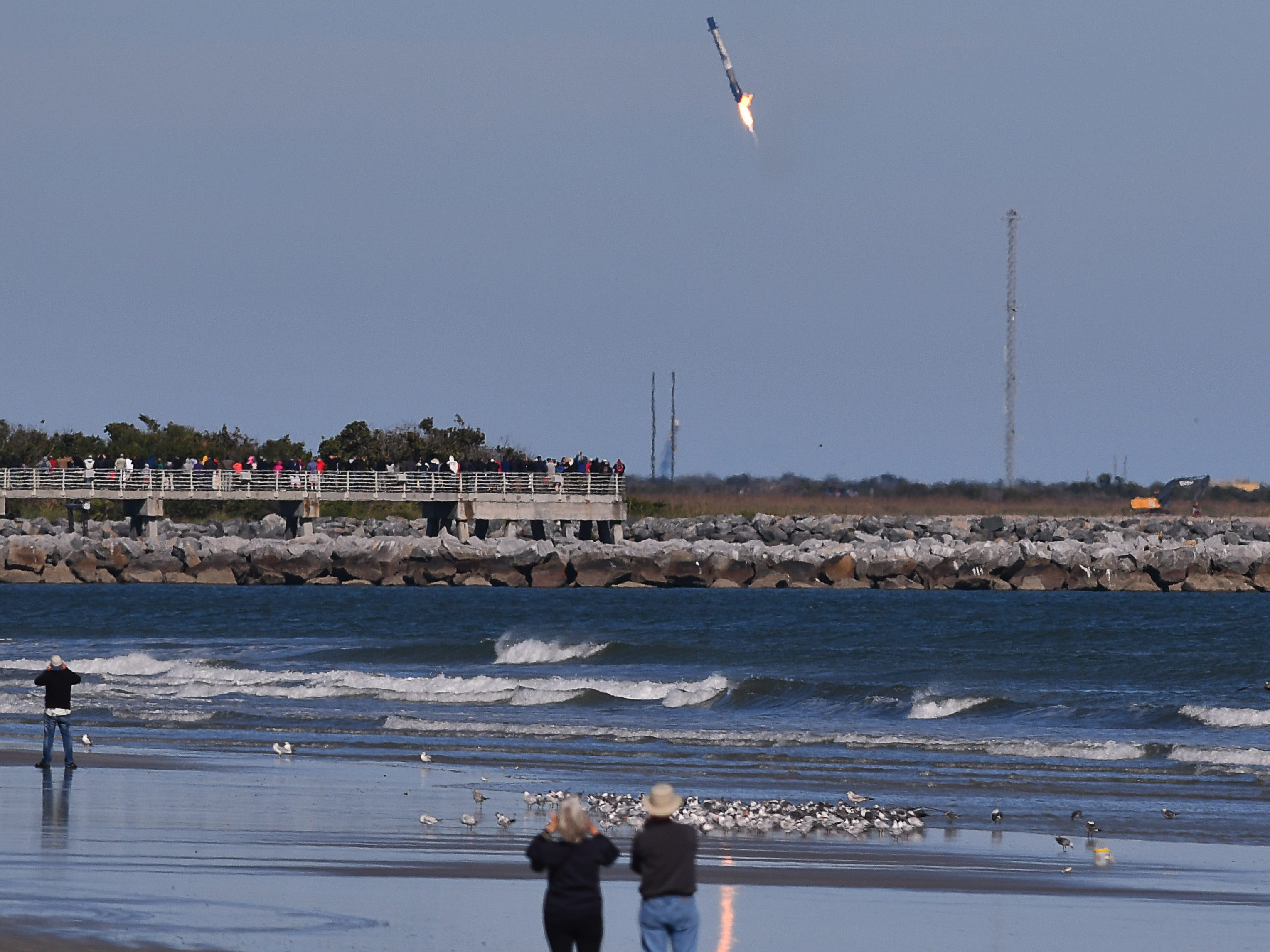 A SpaceX Falcon 9 booster attempts to land at Cape Canaveral Air Force Station, but is unable to on Wednesday, Dec. 5, 2018. The case was attributed to a stuck fin due to a hydraulics issue.