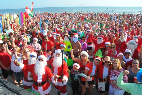 Cocoa Beach Surfing Santas event on Christmas Eve is a favorite event every year.