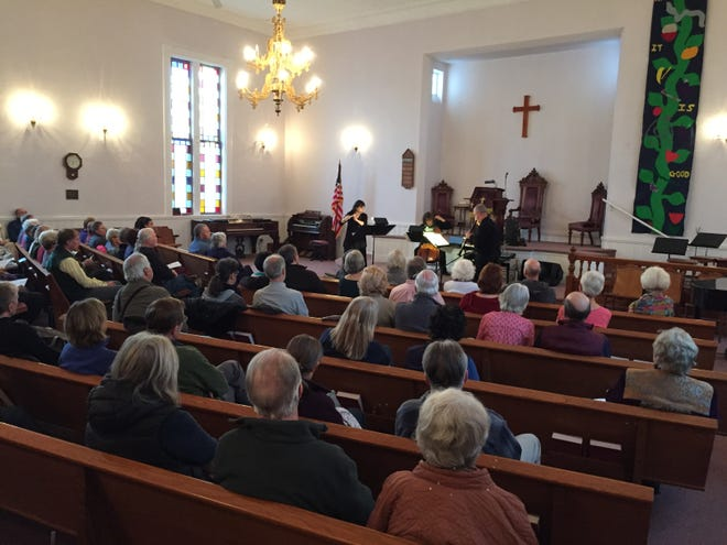A crowd of about 100 people attended a concert at the United Church of Westford by Frevo on Nov. 4, 2018.