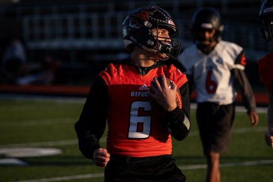 Refugio linebacker-running back Ysidro Mascorro runs a play during practice at Refugio High School on Tuesday, Dec. 4, 2108.
