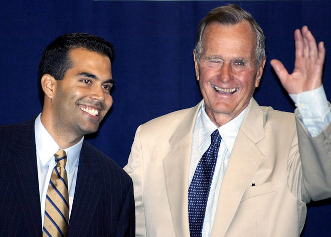 George P. Bush with President George H.W. Bush, in New York on Aug. 31, 2004.