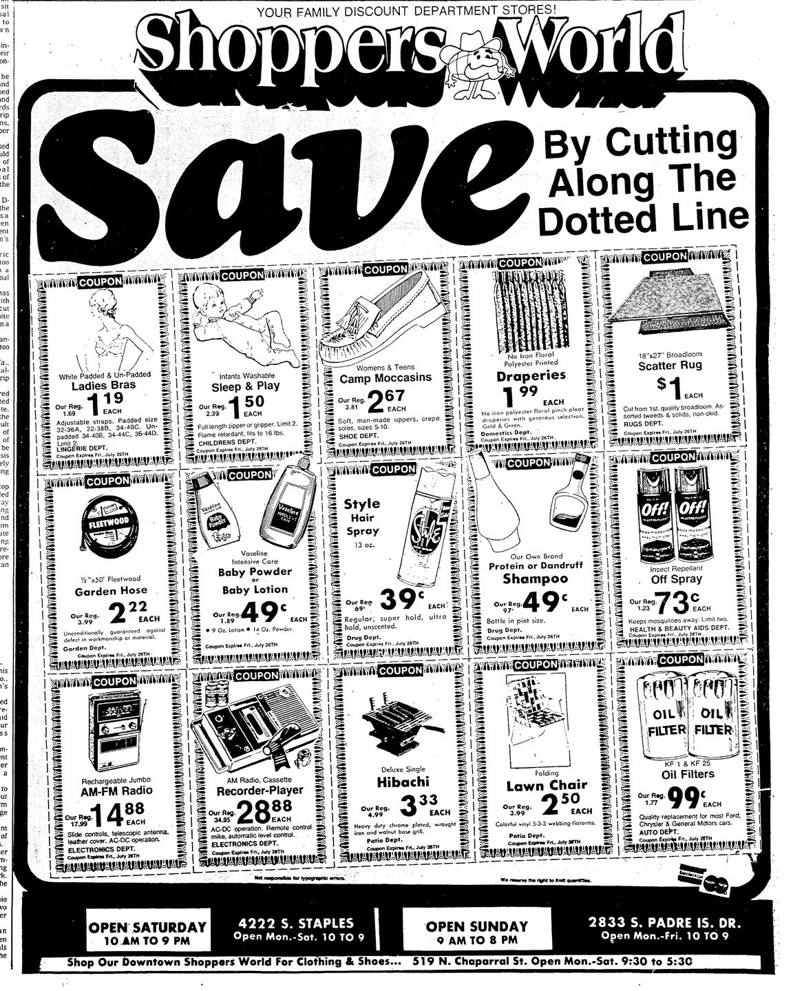 A Shoppers World ad from the Corpus Christi Caller on July 25, 1974.