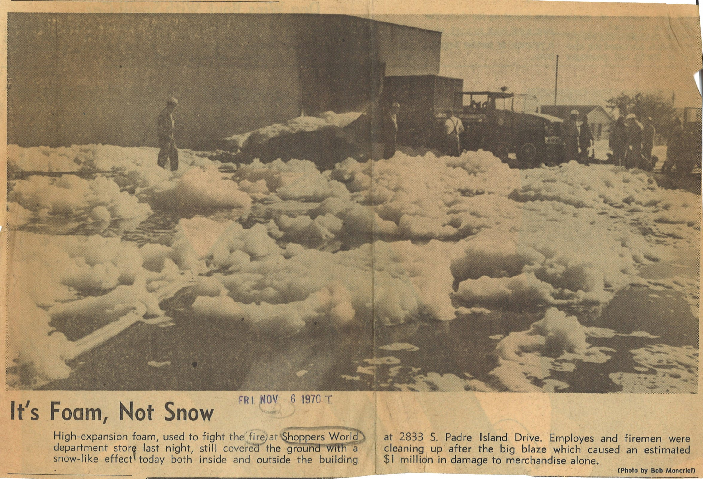 A large fire at Shopppers World on SPID caused an estimated $1 million in damages on Nov. 5, 1970.