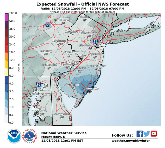 Snow will continue for a large area of South Jersey through Wednesday afternoon.
