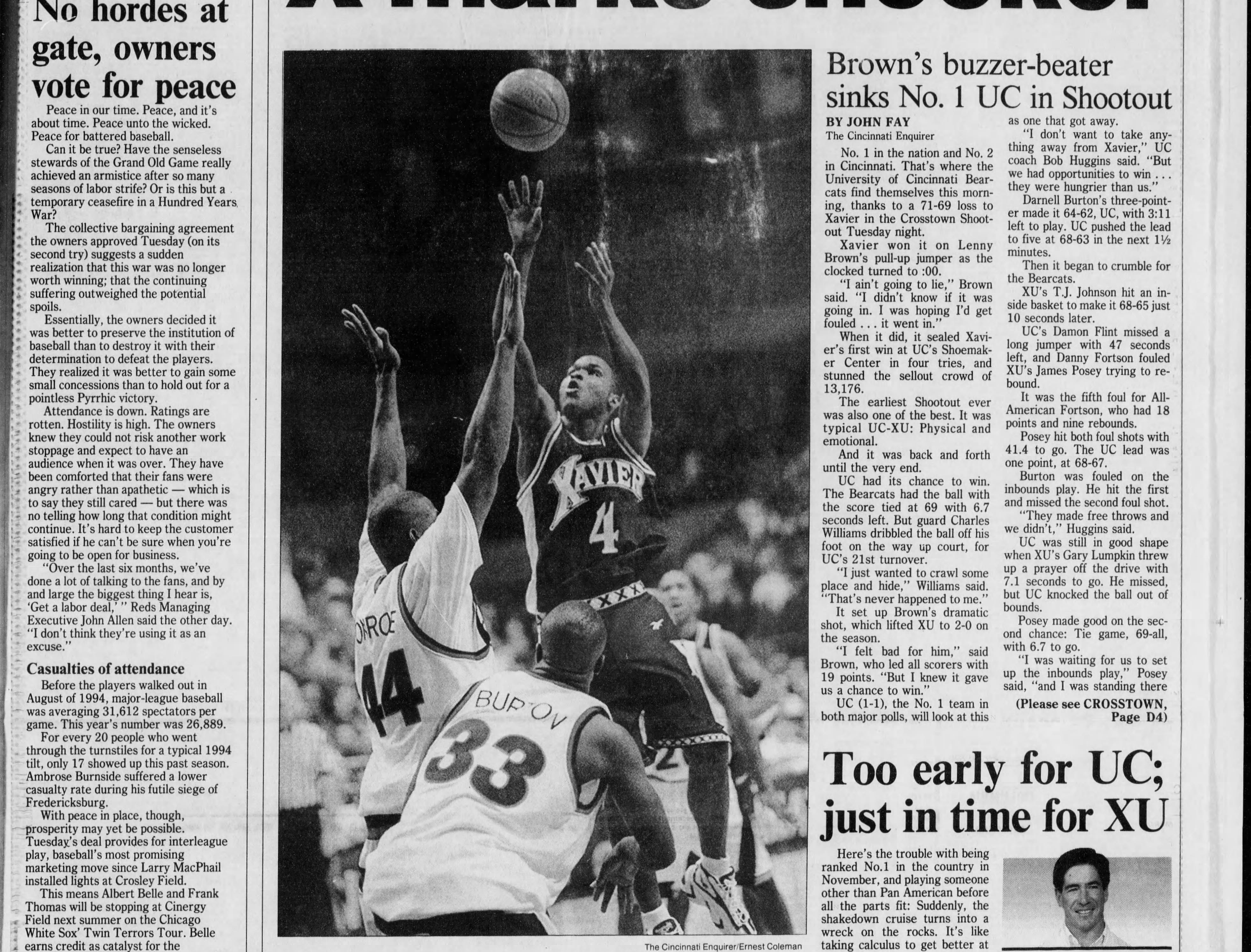 Lenny Brown's buzzer-beater led Xavier over No. 1-ranked UC in the 1996-97 version of the Crosstown Shootout.
