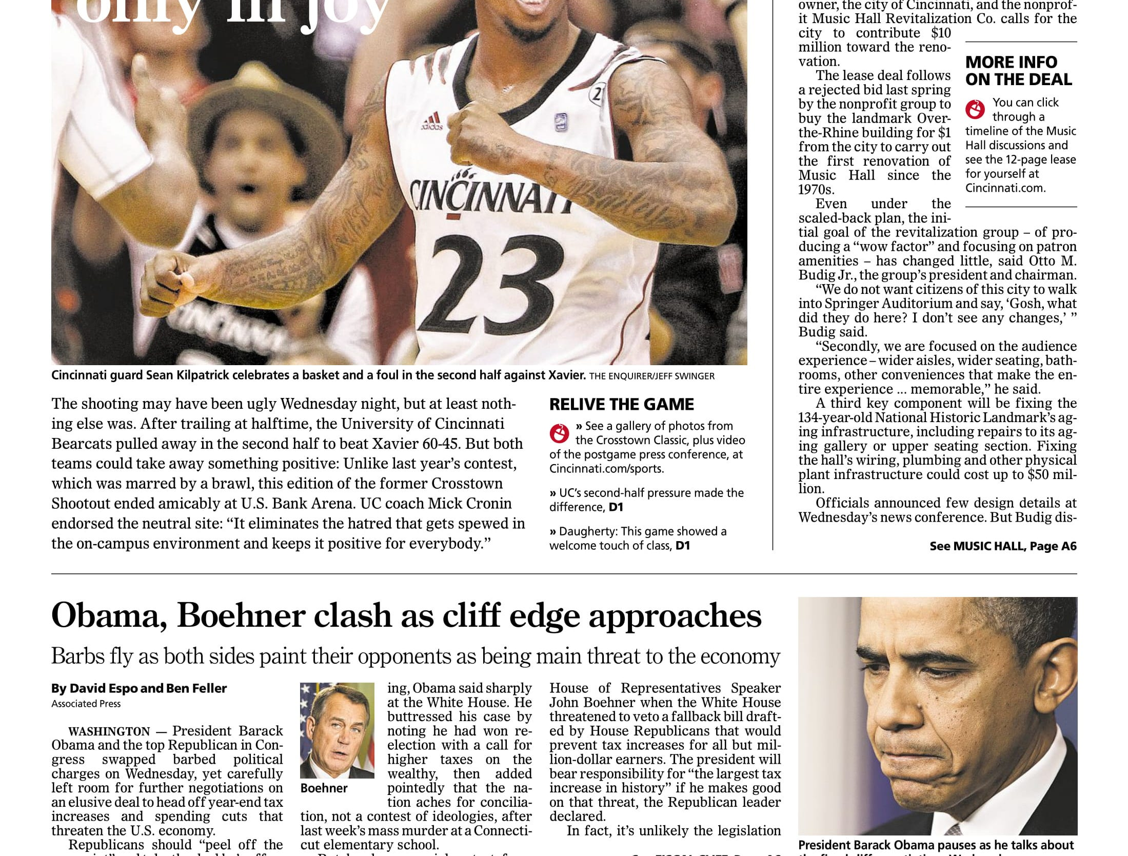 The 'Crosstown Classic' was moved to U.S. Bank Arena for the 2012-13 edition, a 60-45 win.
