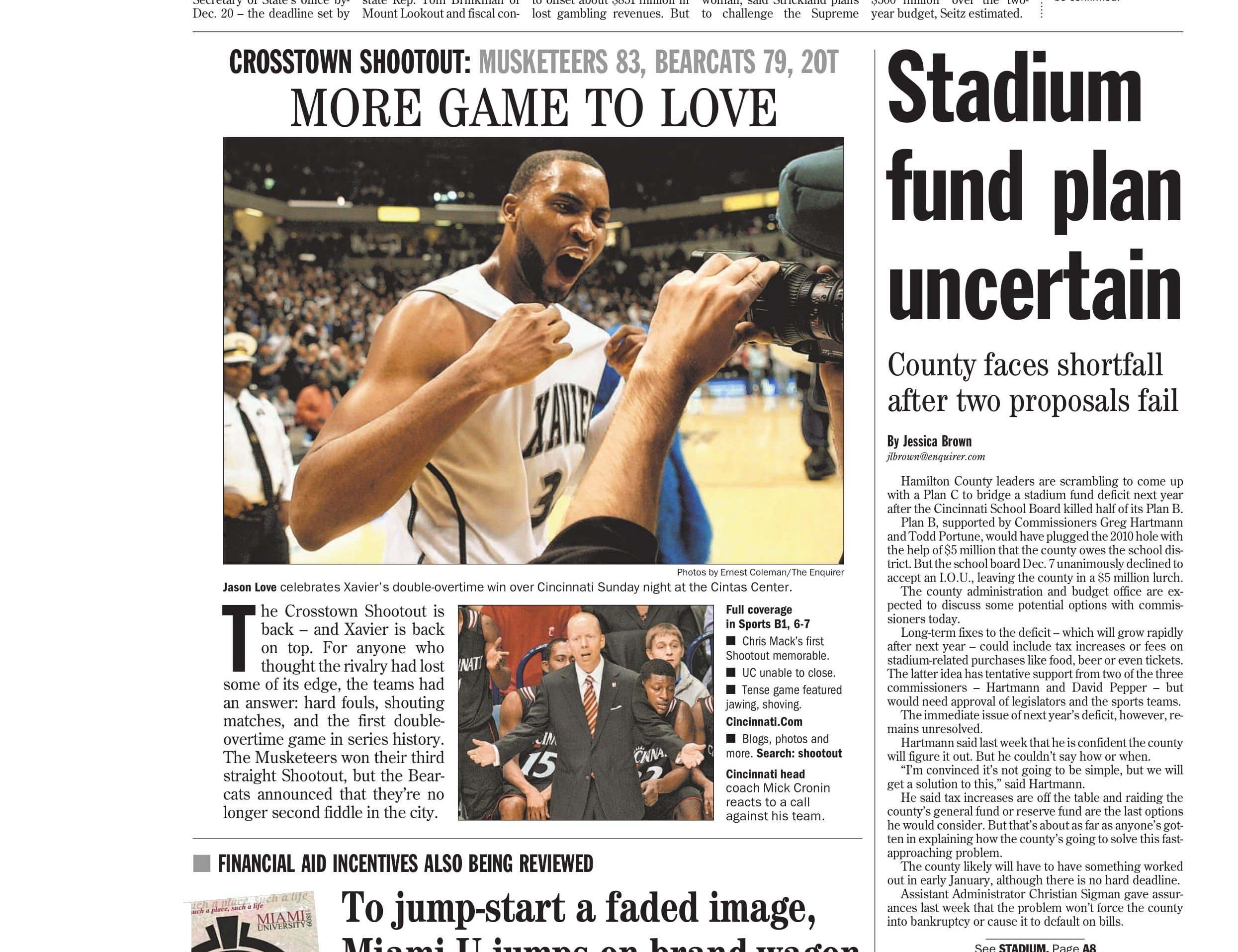 Chris Mack's first Crosstown Shootout as a head coach ended in a memorable double overtime win for the Musketeers in the 2009-10 season.
