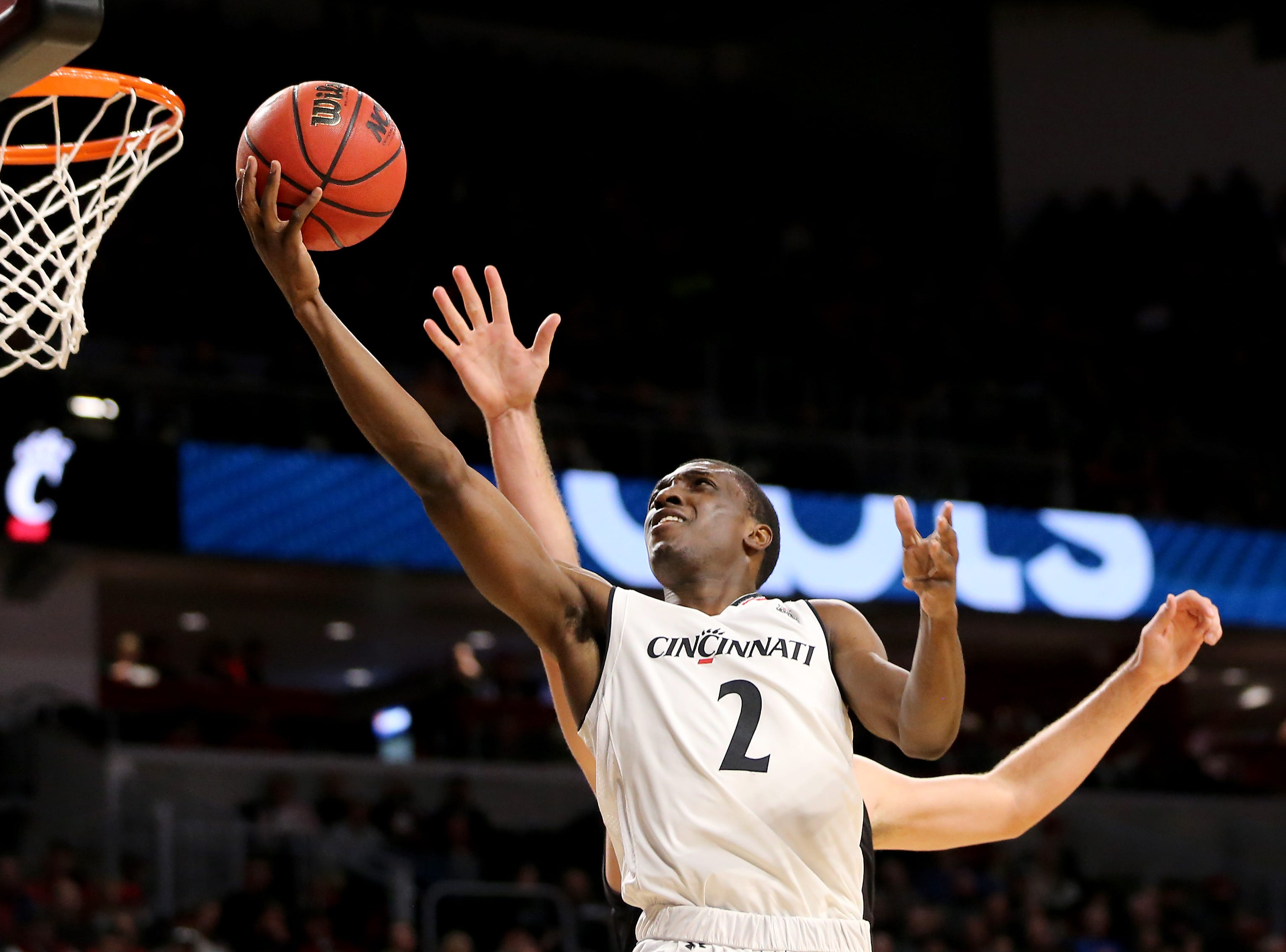 Cincinnati Bearcats guard Keith Williams (2) goes up for a shot in the second half of an NCAA college basketball game against the Northern Kentucky Norse, Tuesday, Dec. 4, 2018, at Fifth Third Arena in Cincinnati.