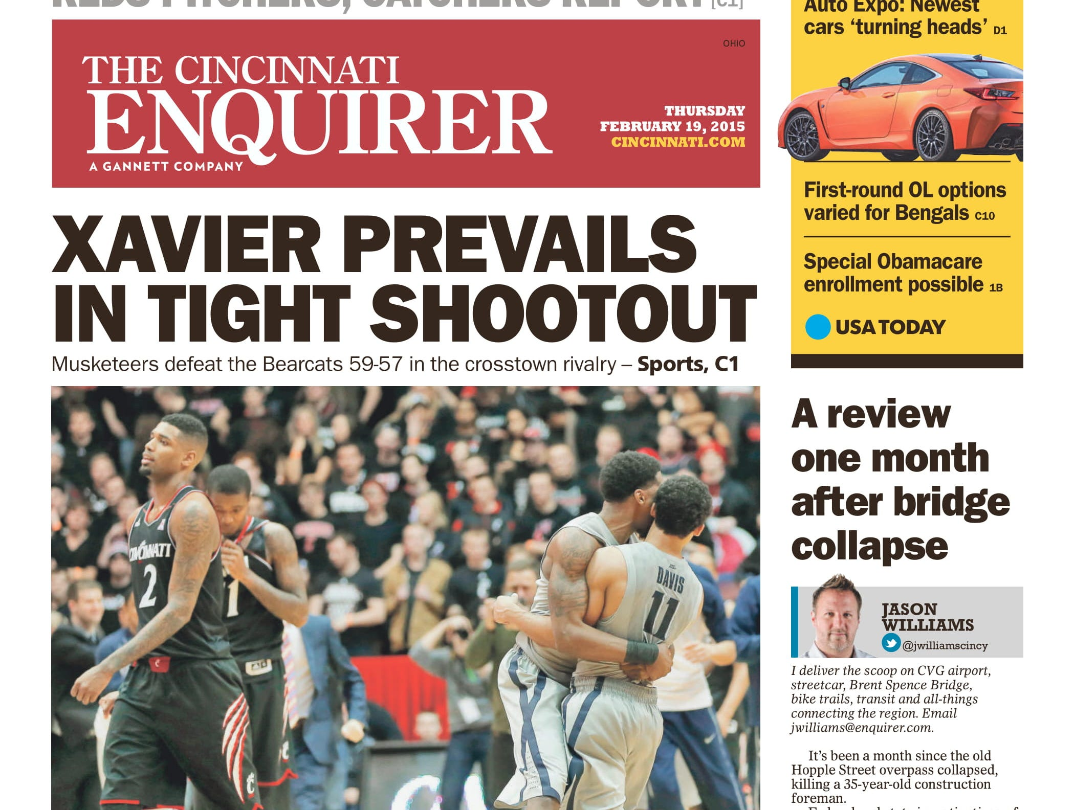 The 2014-15 Crosstown Shootout returned to campus, this time Cincinnati's Fifth Third Arena. Xavier managed the road win, though, by a 59-57 score.