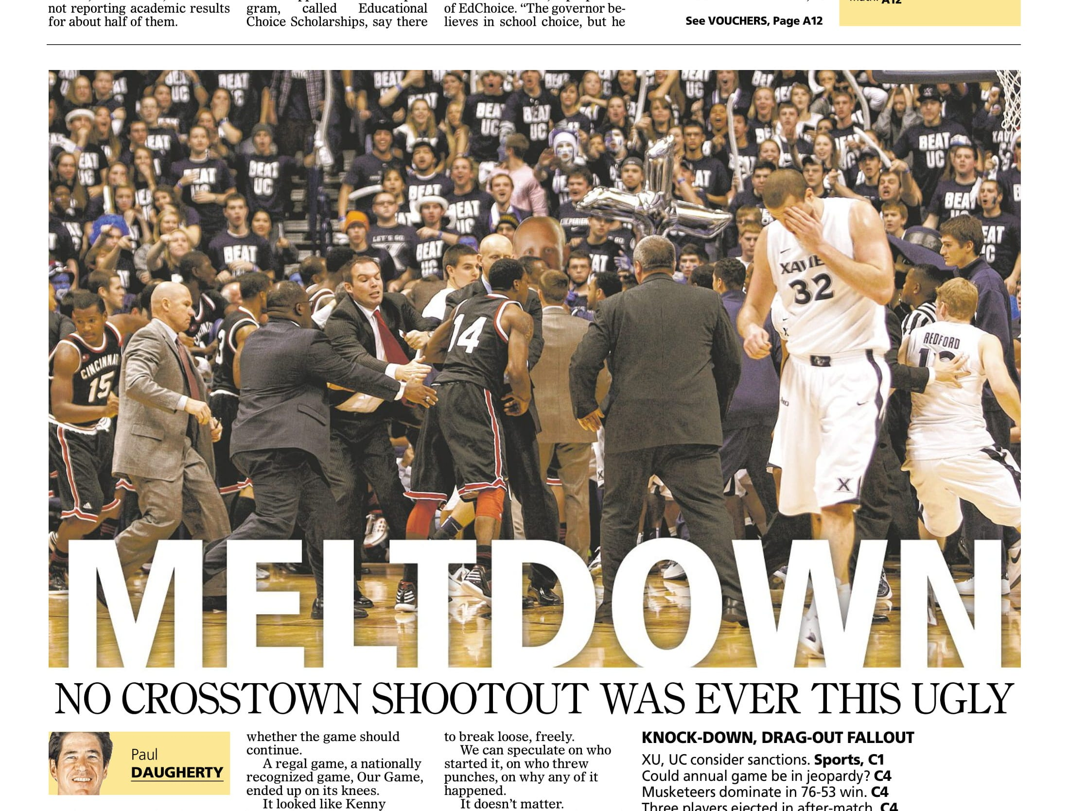 'MELTDOWN': The 2011-12 season's Crosstown Shootout was memorable for all the wrong reasons. The bench-clearing brawl made national headlines. Xavier won 76–53, but the score was secondary that day.