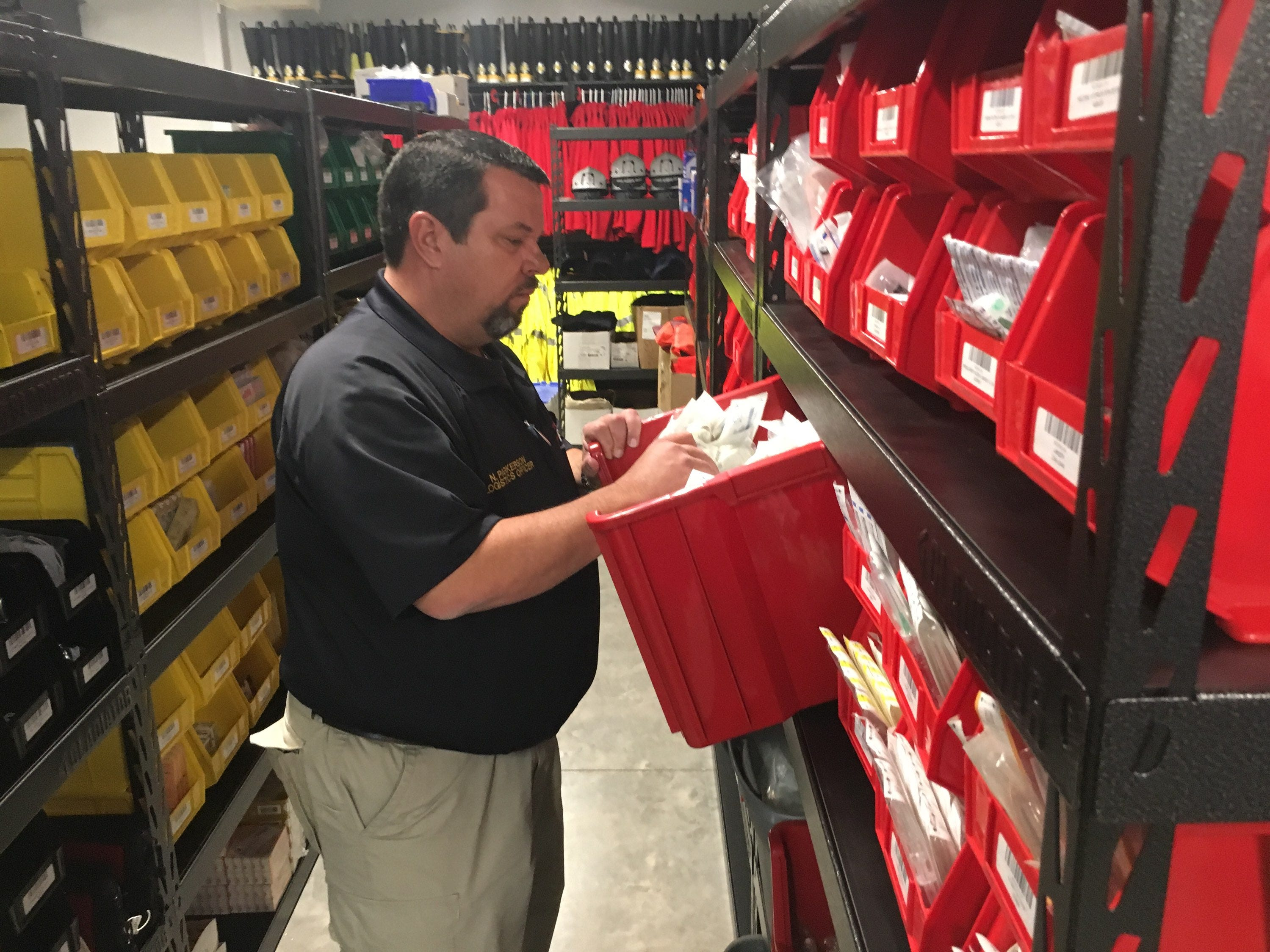 Norman Parkerson oversees some 34,000 emergency medical supplies in the new EMS center, at an annual cost of about a half-million dollars.