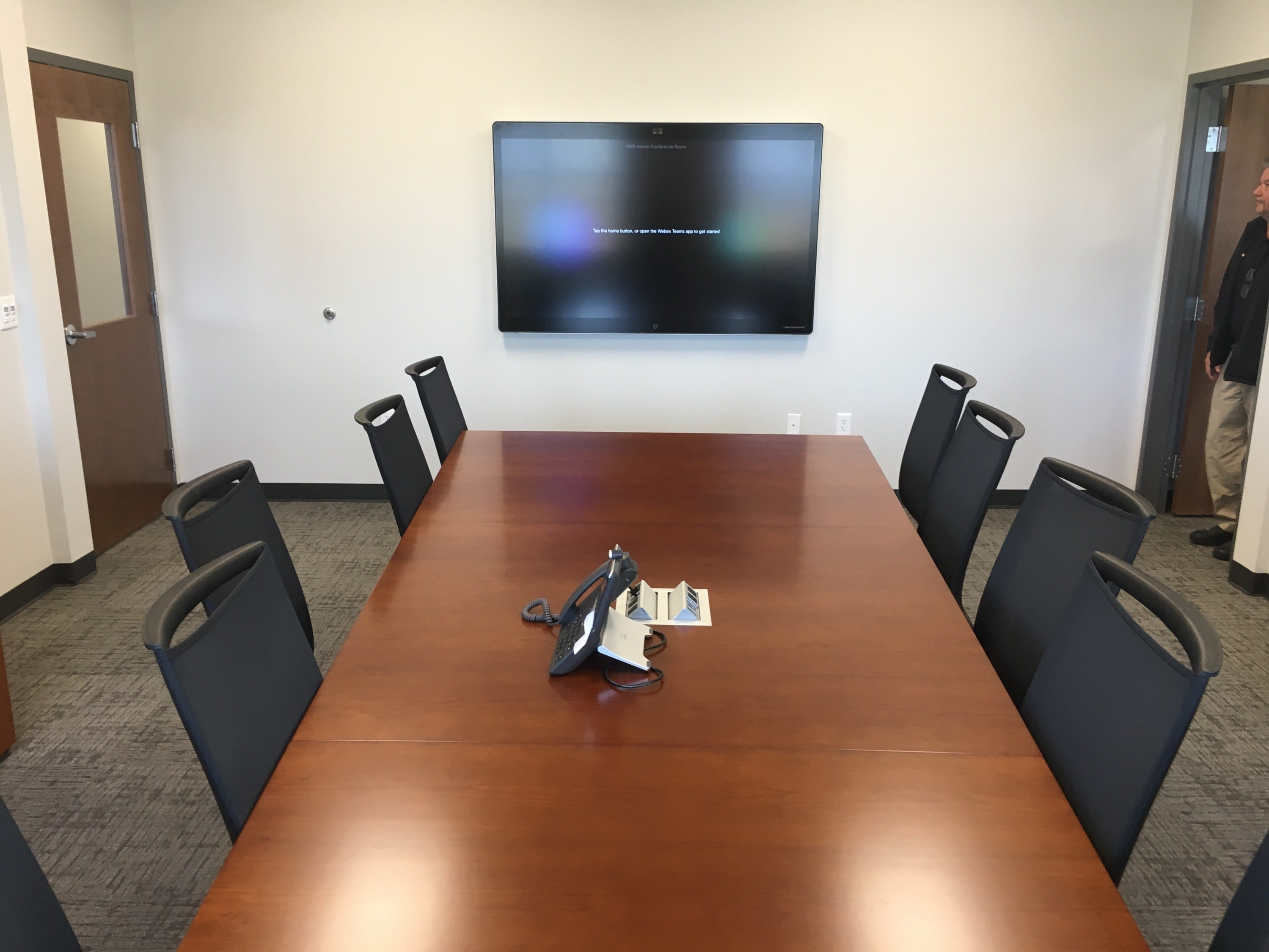The conference room at the new EMS center is linked up electronically to the County Mayor's office and the county's Emergency Operations Center.