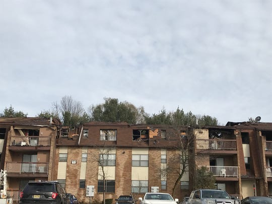 The aftermath of the Hillside Garden apartment fire in the Keasbey section of Woodbridge