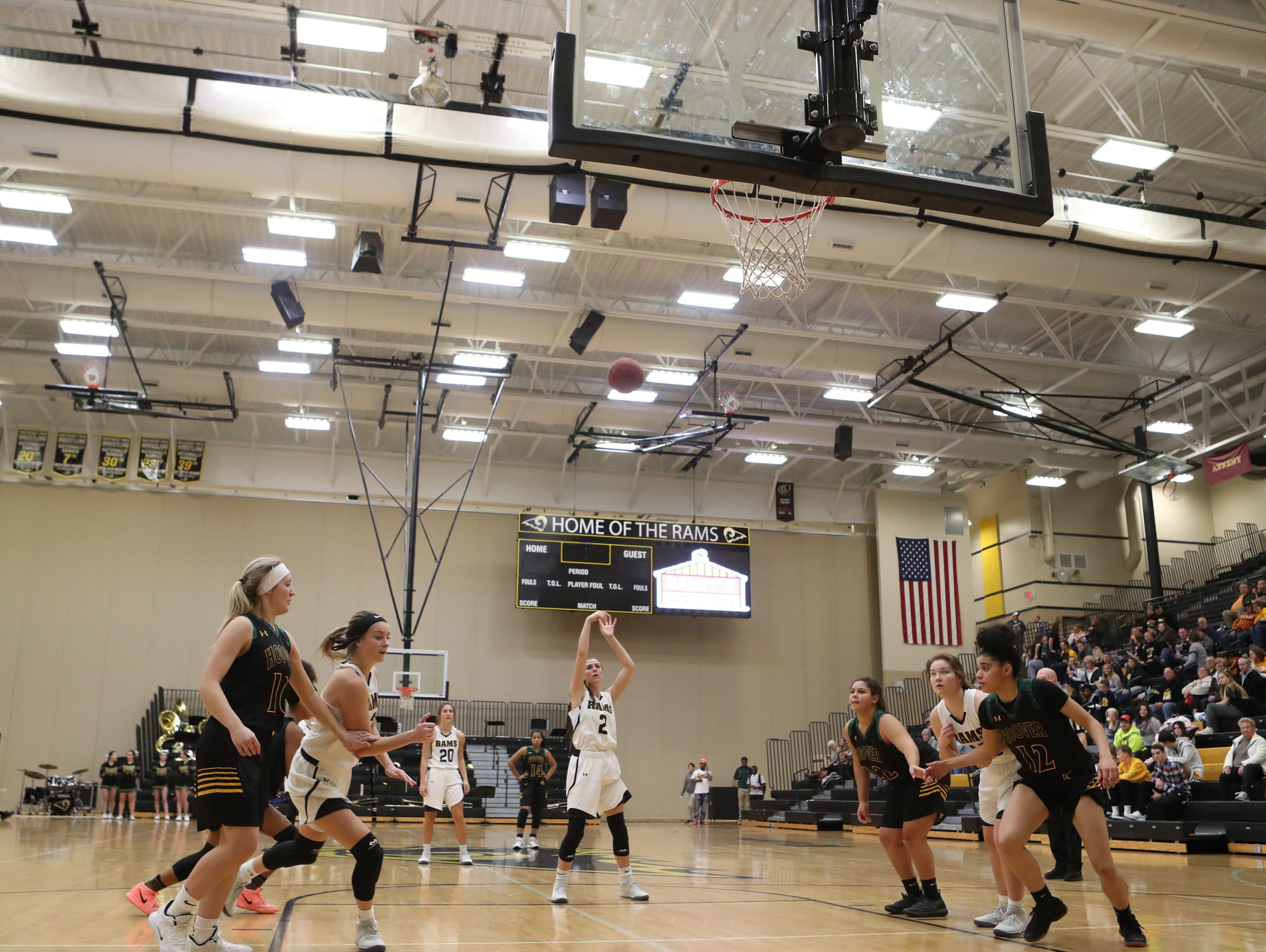 Southeast Polk Rams Liza Sutten (2) shoots free-throw against the Hoover Huskies at Southeast Polk High School.