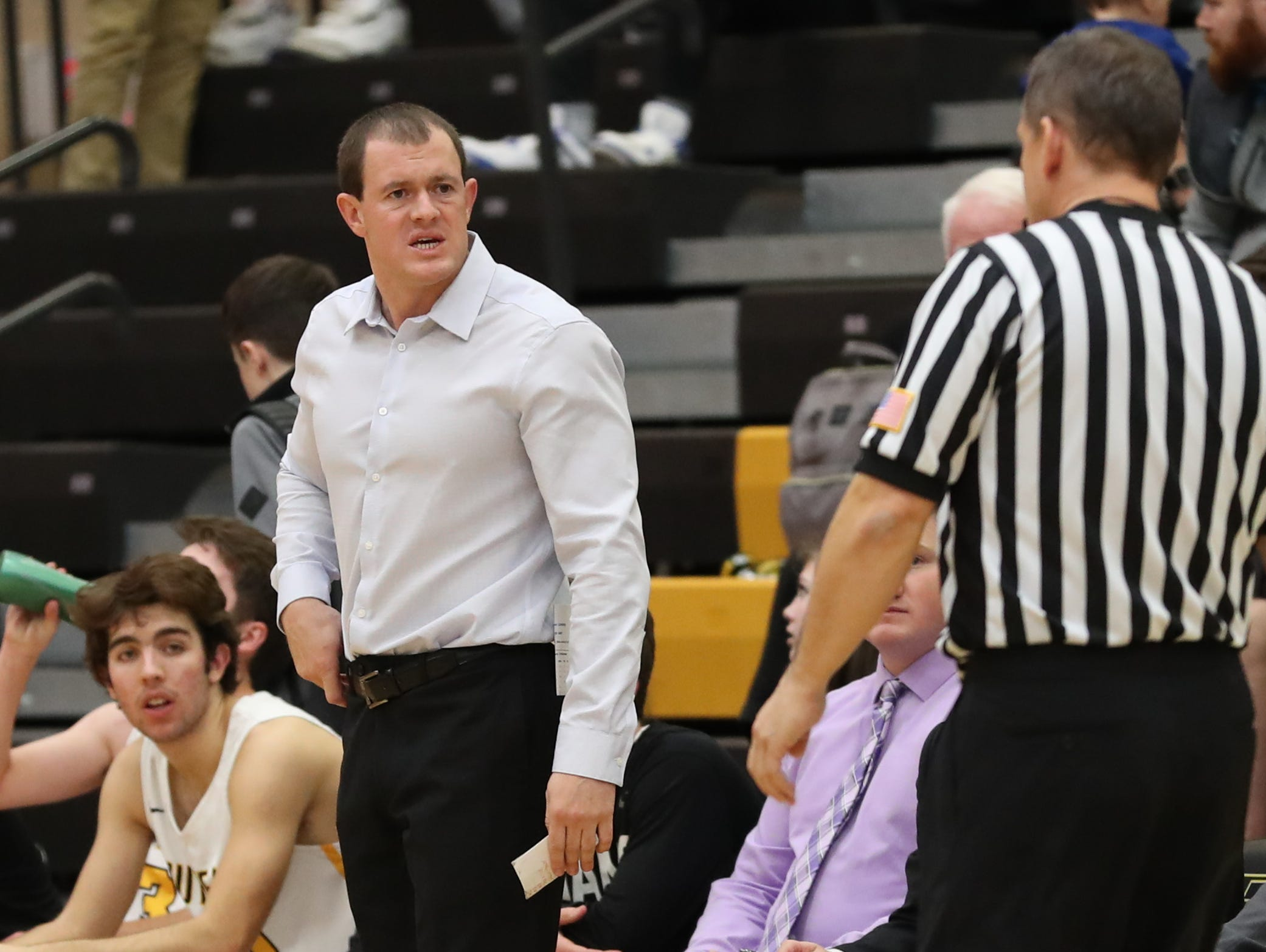 Southeast Polk Rams head coach Alan Jenkins is not happy with a call from the officials during their game against the Hoover Huskies at Southeast Polk High School.