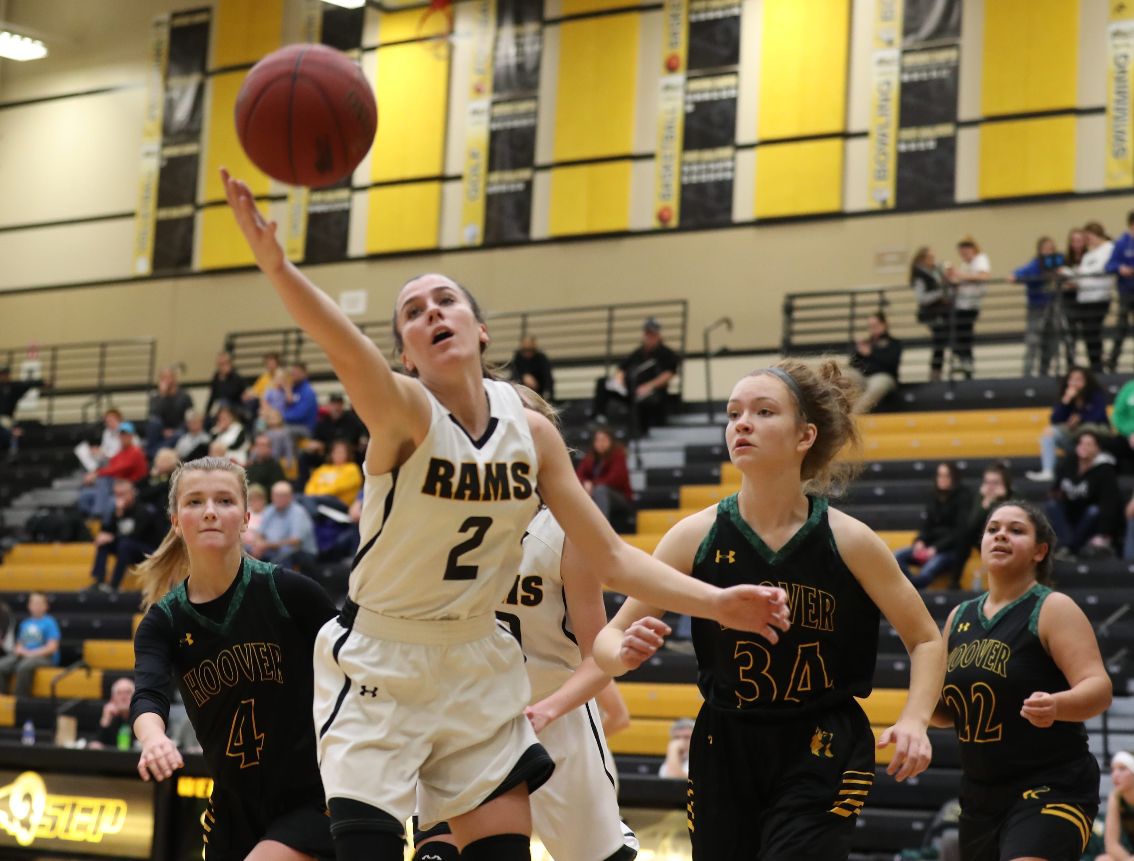 Southeast Polk Rams Liza Sutten (2) saves a ball from going out of bounds against the Hoover Huskies at Southeast Polk High School.
