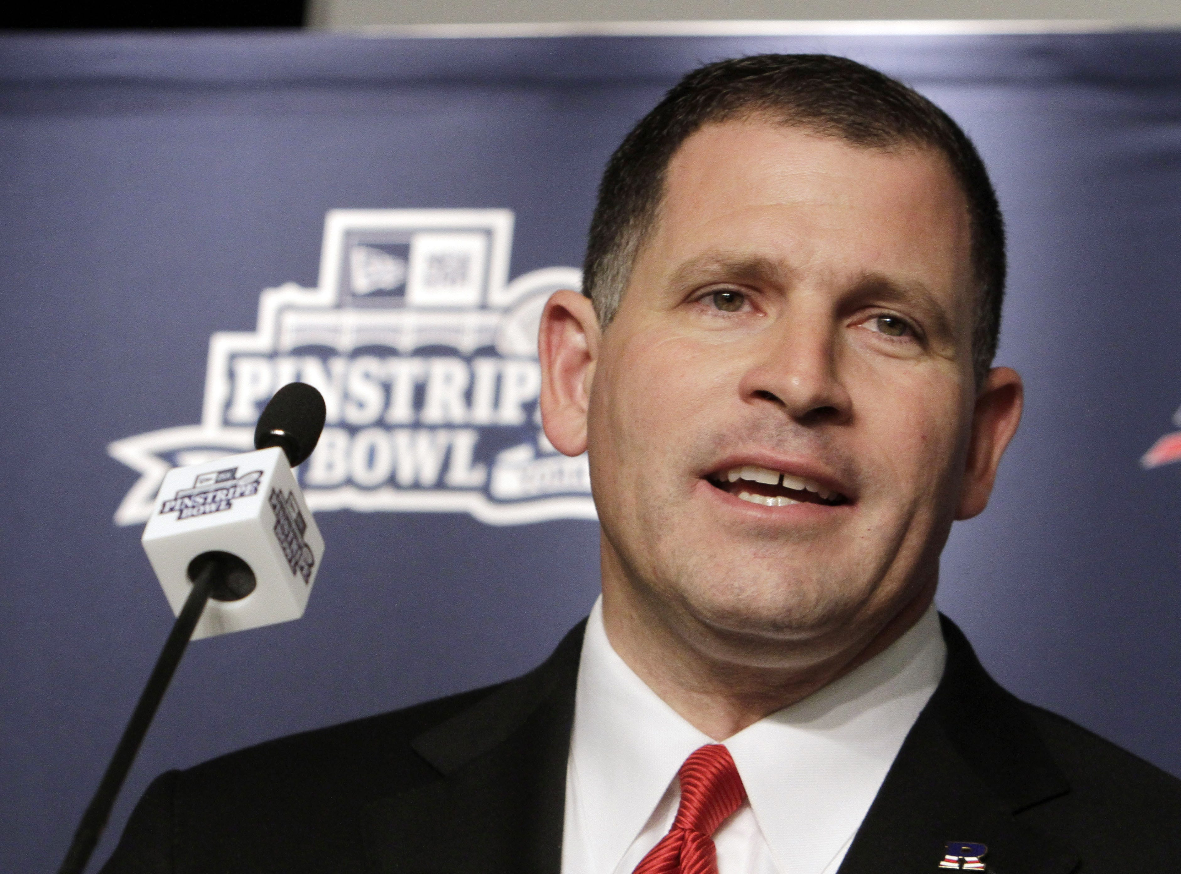 Rutgers coach Greg Schiano addresses the media  during an NCAA college football news conference at New York's Yankee Stadium,  Wednesday, Dec. 7, 2011. Rutgers is scheduled to takes on Iowa State in the New Era Pinstripe Bowl at the stadium on Dec. 30, 2011.