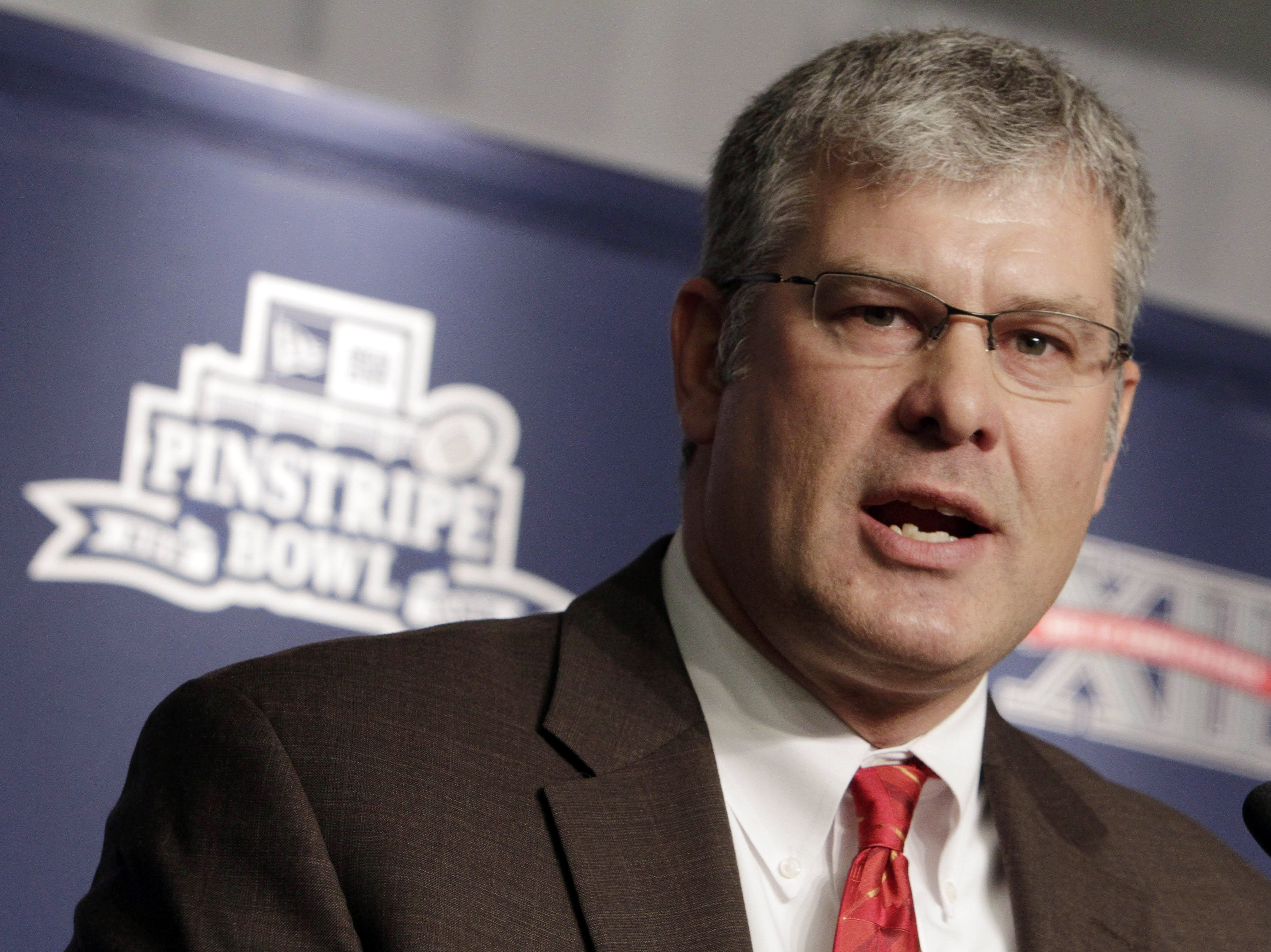 Iowa State coach Paul Rhoads addresses the media  during an NCAA college football news conference at New York's Yankee Stadium,  Wednesday, Dec. 7, 2011. Iowa State is scheduled to takes on Rutgers in the New Era Pinstripe Bowl at the stadium on Dec. 30, 2011.