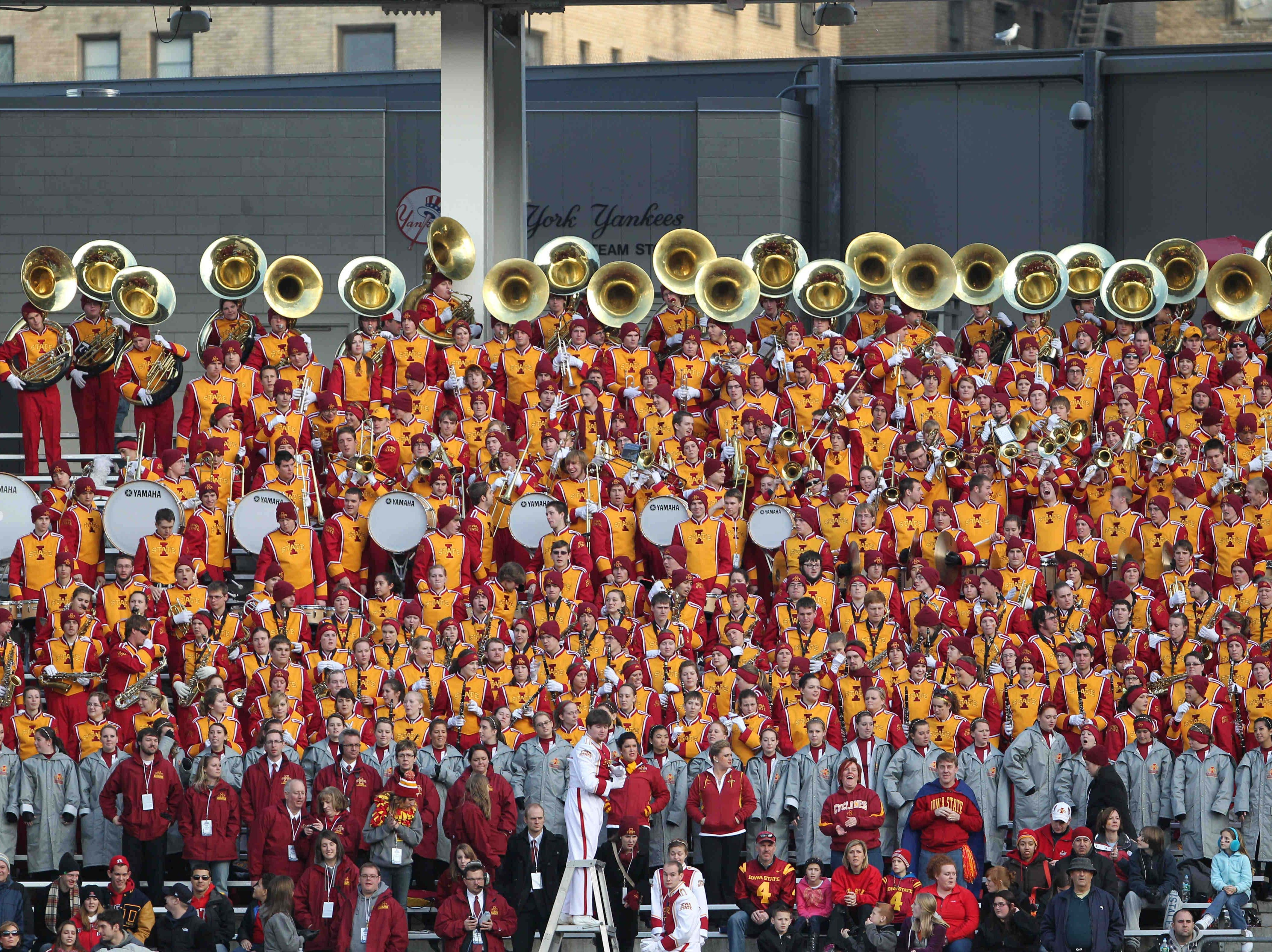 Iowa State Cyclones marching band entertains at the 2011 Pinstripe Bowl against the Rutgers Scarlet Knights at Yankee Stadium.