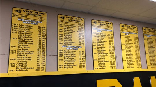 The Southeast Polk wrestling room displays the program's history. Here, the past state place-winners are shown, organized by coach.