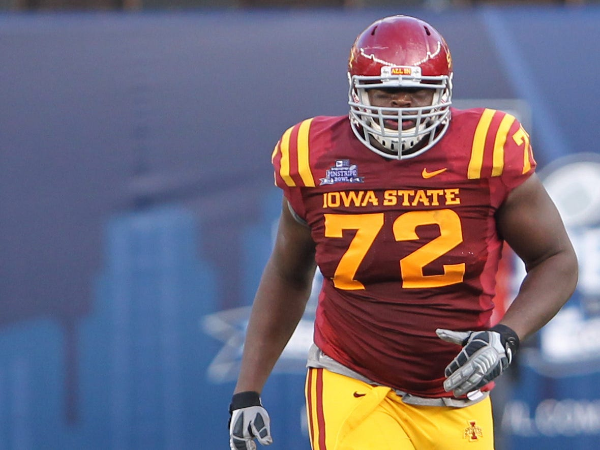 Iowa State Cyclones offensive lineman Kelechi Osemele (72) during the first quarter against the Rutgers Scarlet Knights at the 2011 Pinstripe Bowl at Yankee Stadium.