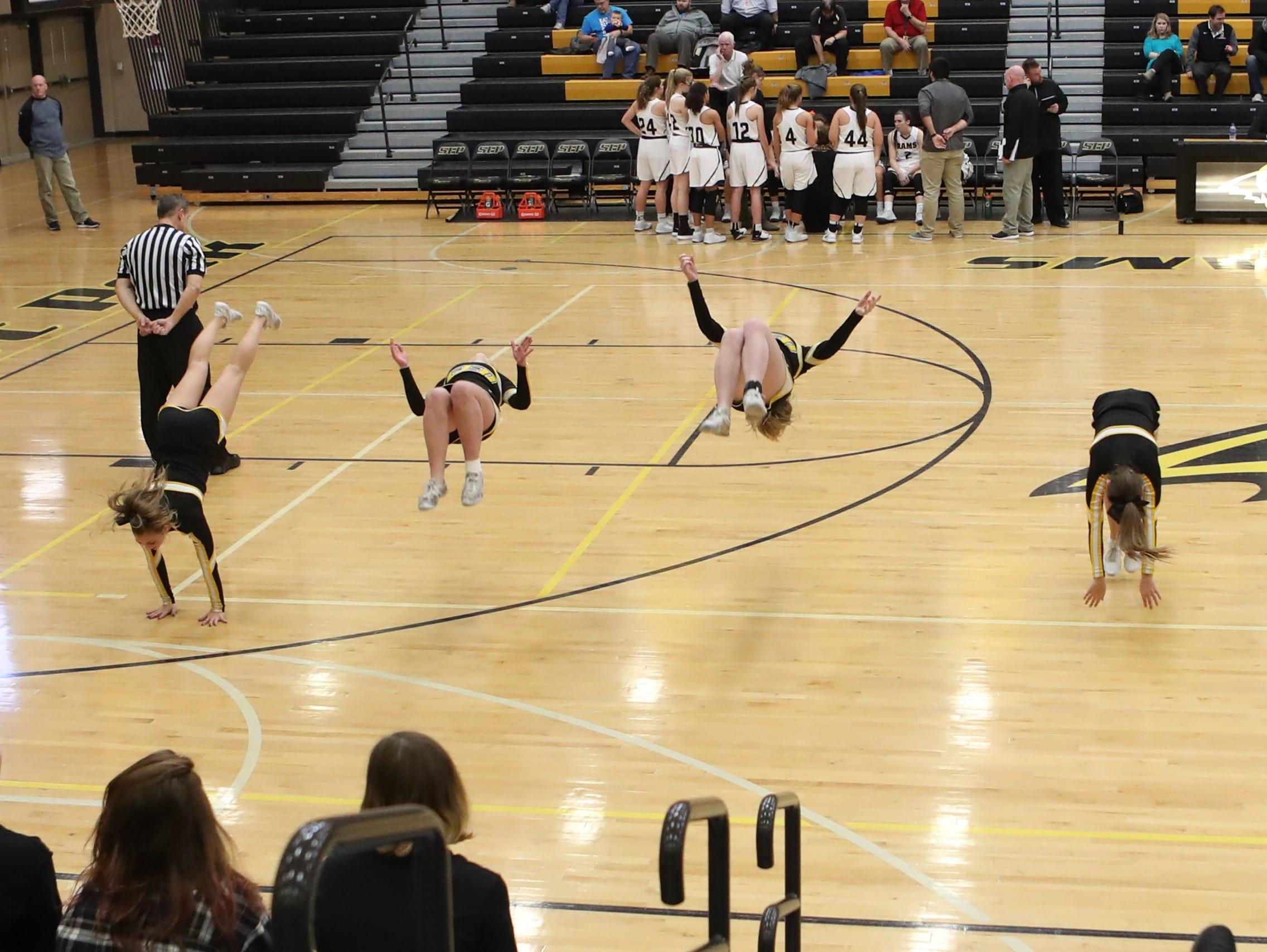 Southeast Polk Rams Cheer Squad performs at Southeast Polk High School.