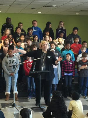 Emily Westergaard, CEO of newly-established By Degrees Foundation, announces that the organization is breaking from the national I Have a Dream Foundation that helps prepare students in low-income areas for post-secondary education. The announcement was made at Des Moines' Findley Elementary on Wednesday, Dec. 5, 2018.
