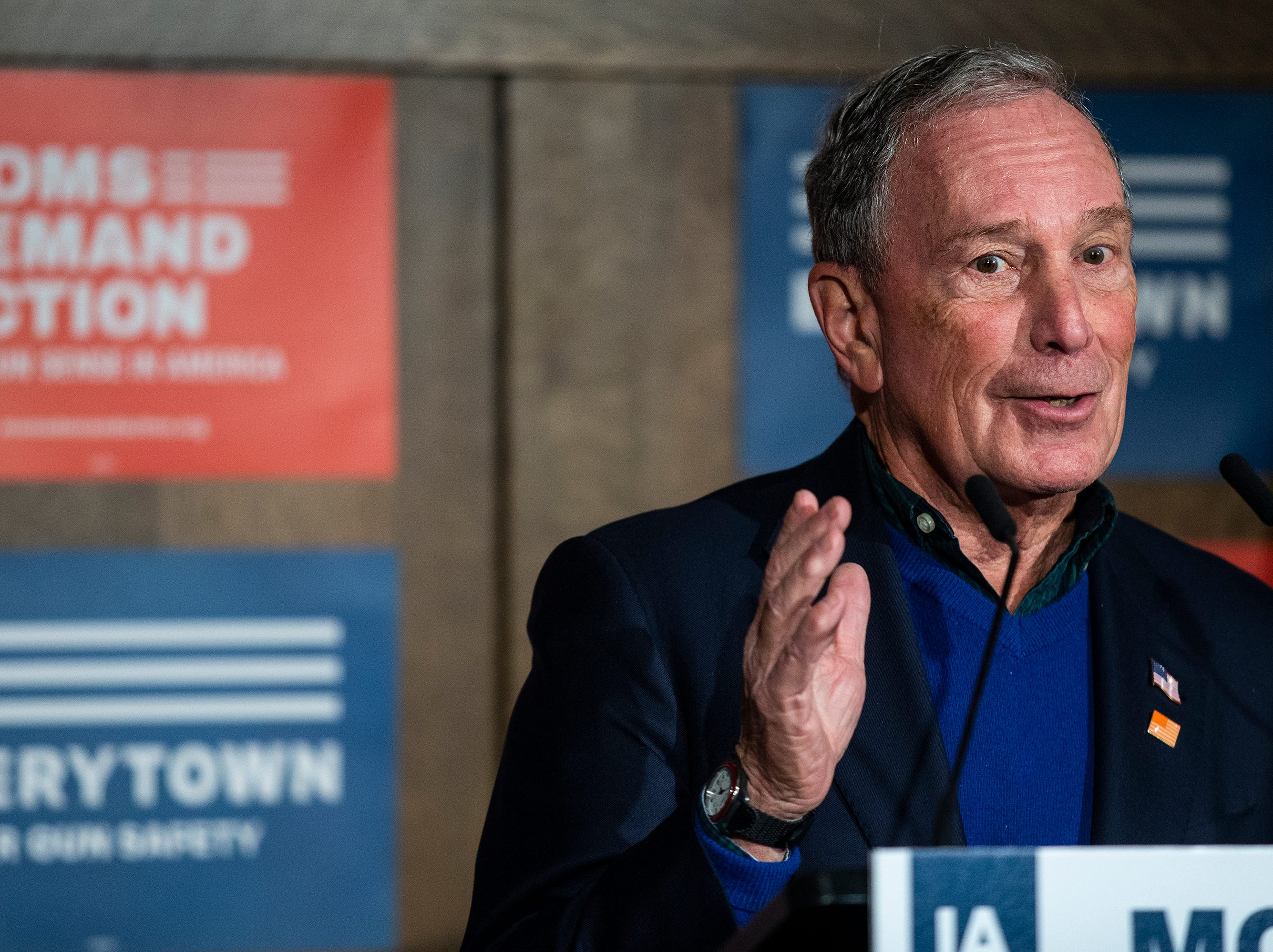 Former New York City Mayor Michael Bloomberg speaks to the crowd gathered at an Iowa Moms Demand Action member meeting on Tuesday, Dec. 4, 2018, at the Iowa Taproom in Des Moines.