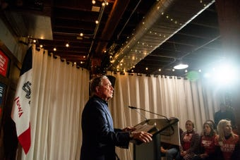 Michael Bloomberg, former mayor of New York City speaks at an Iowa Moms Demand action meeting on Tuesday, Dec. 4, 2018.