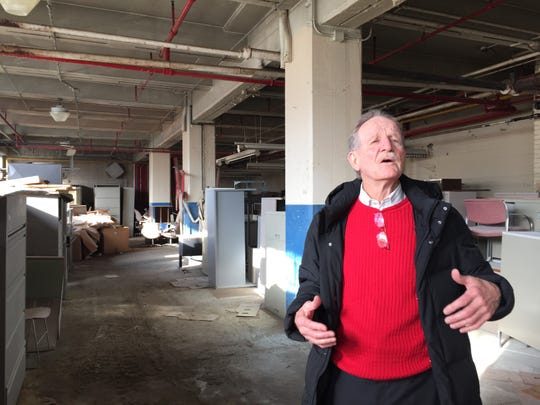 Developer Rick Cox standing in the Phoenix Mill in Plymouth Township that he hopes to redevelop as a meeting space and restaurant along the Middle Rouge River.