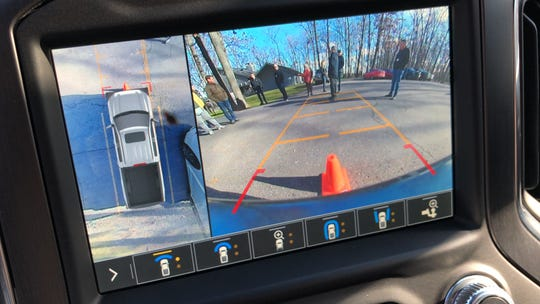 The Sierra AT4's 360-degree cameras let the driver see obstacles invisible from behind the wheel.