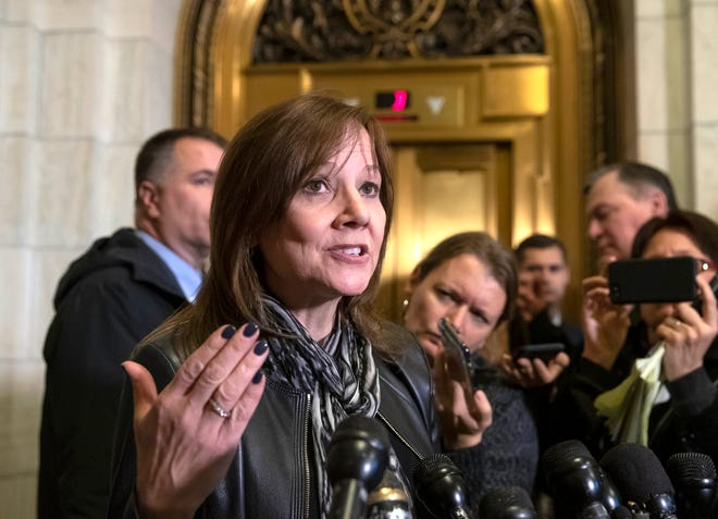 General Motors CEO Mary Barra speaks to reporters after a meeting with Sen. Sherrod Brown, D-Ohio, and Sen. Rob Portman, R-Ohio, to discuss GM's announcement it would stop making the Chevy Cruze at its Lordstown, Ohio, plant, part of a massive restructuring for the automaker, on Capitol Hill in Washington, Wednesday, Dec. 5, 2018.
