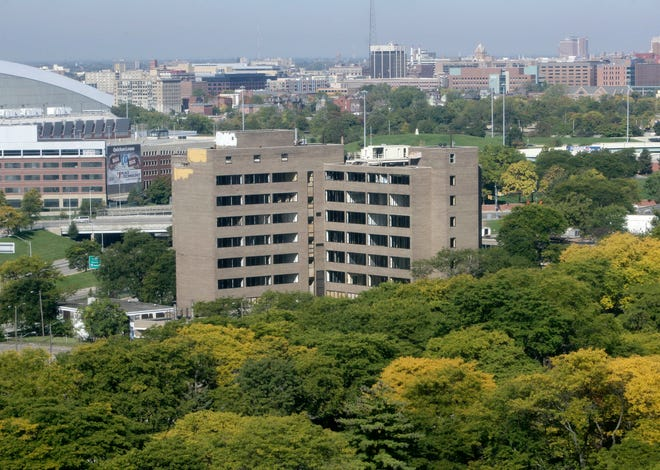 The former Shapero Hall, once part of Wayne State University, located in Lafayette Park in Detroit in September 2014.