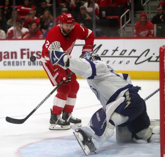 Detroit Red Wings left wing Thomas Vanek's shot is saved by Tampa Bay Lightning goalie Edward Pasquale in the shootout Tuesday, Dec. 4, 2018 at Little Caesars Arena in Detroit.